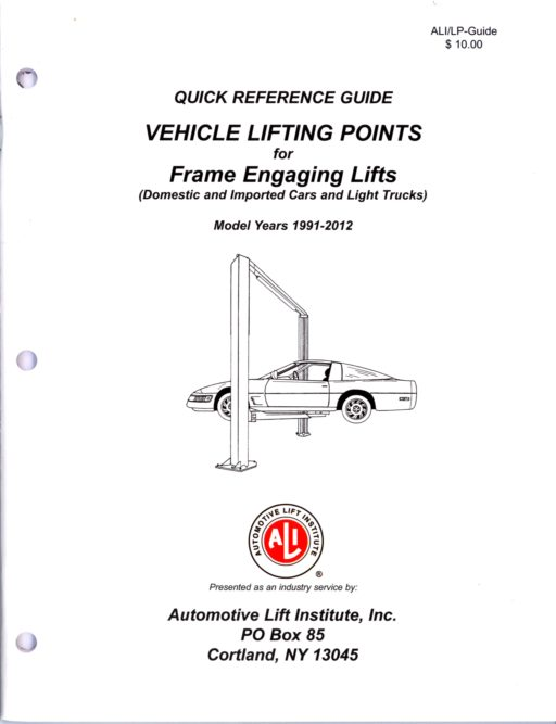 2012 vehicle lifting guide now available