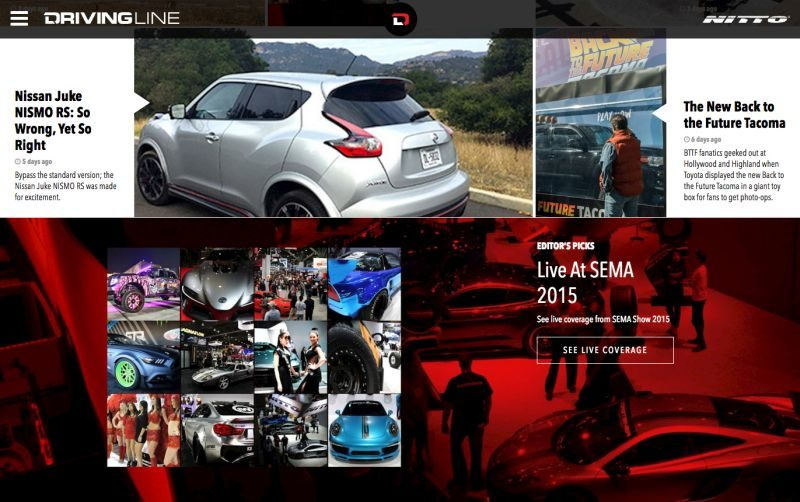 2015 SEMA Show, Pre-Show: Nitto Redesigns Its 'Driving Line' Website