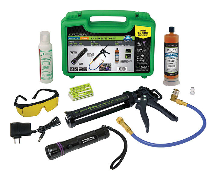 A/C Leak Detection Kit Comes With Rechargeable Flashlight