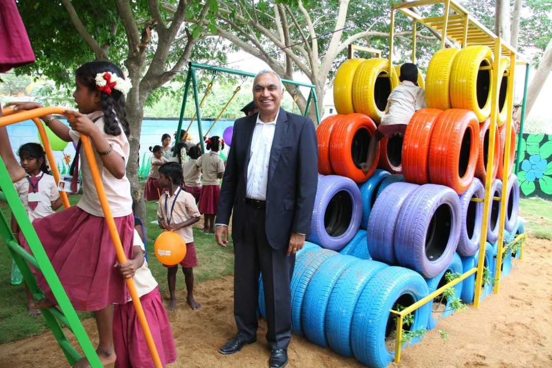 Apollo turns tires into playgrounds in India