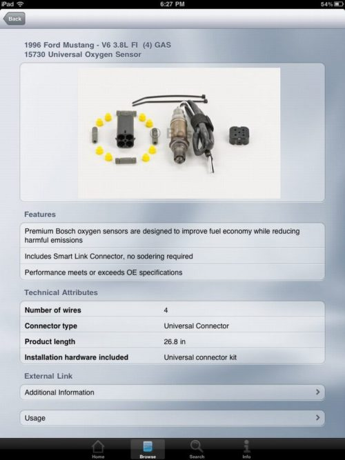 Find Bosch parts on your iPhone, iPad