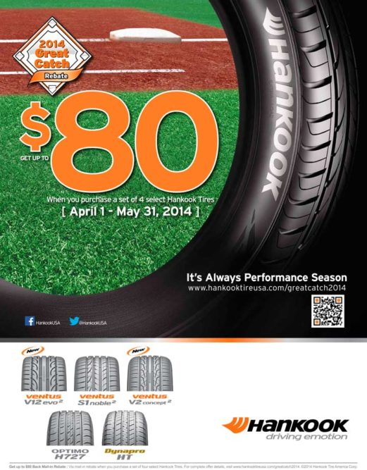 Hankook: More tires in 2014 Great Catch rebate