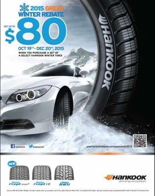 Hankook Promotes Winter Tire Sales with Consumer Rebate