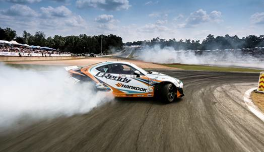 Hankook Tire Drivers on podium at Formula Drift Round Two