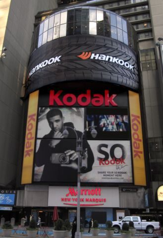 Hankook unveils giant tire sign in Times Square