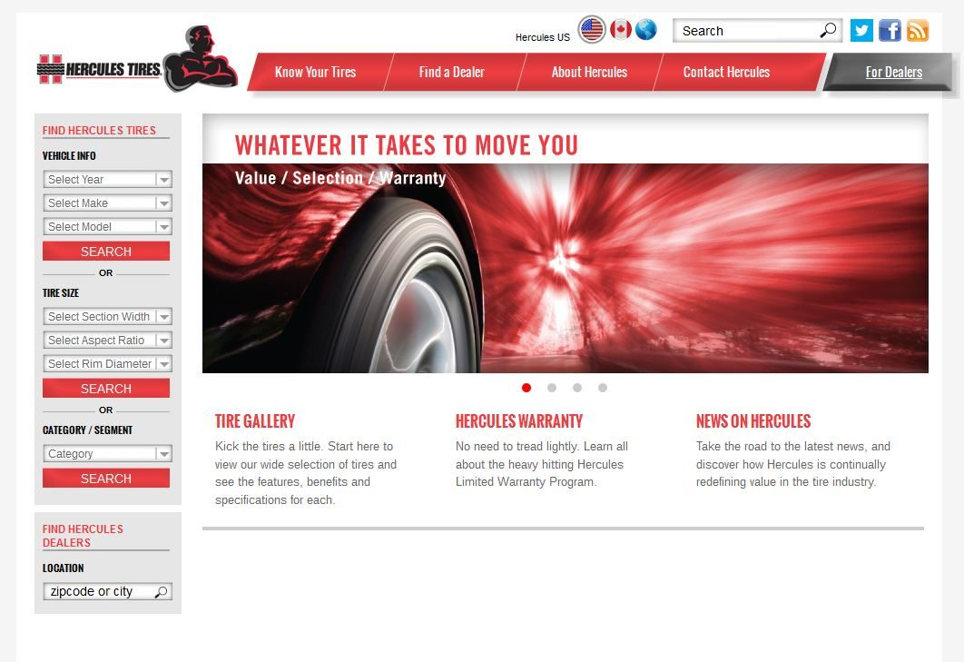 Hercules improves tire search on new website