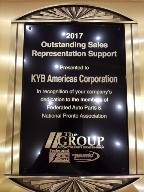 KYB Earns Award From the Automotive Parts Services Group