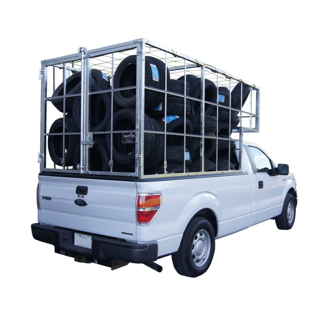 Pickup Tire Cage holds 100 17-inch tires