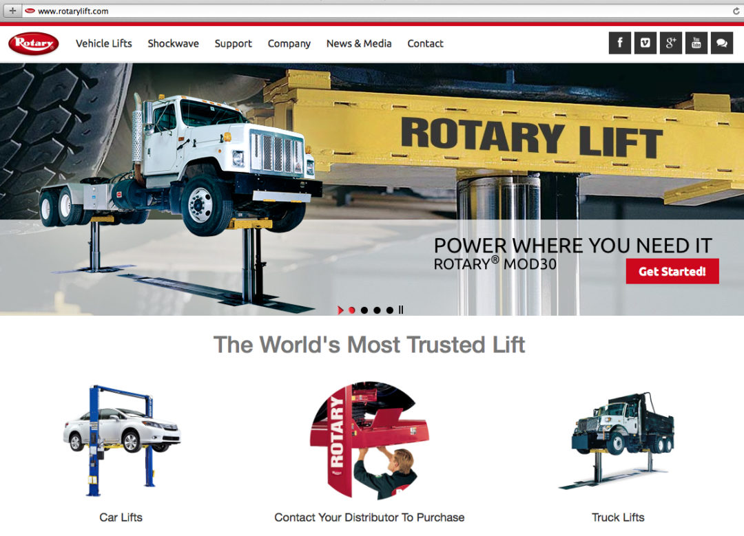 Redesigned website showcases Rotary Lifts
