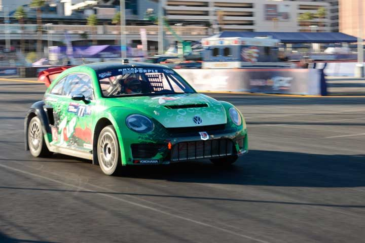 Scott Speed finishes third in the Red Bull Global Rallycross Driver Championship