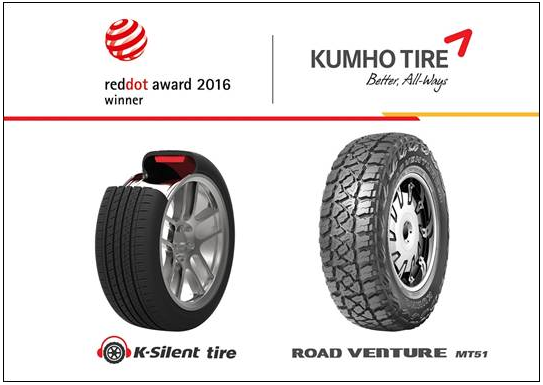 Two Kumho Tires Win Red Dot Design Awards